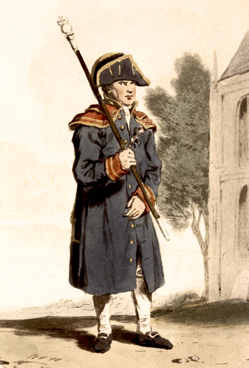 """A beadle was a minor officer employed to communicate orders and execute them, and can be found in a wide range of eighteenth-century institutions. In terms of policing, beadles carried out an important role in the City of London and Westminster…Beadles also appear frequently…as parish officers, responsible for summoning Coroners' Inquests and carrying out the orders of churchwardens and overseers of the poor, and as officers of Bridewell Hospital, implementing the orders of the Court of Governors. Within the City, beadles were long-established wardofficers. The office was a full-time job with a salary, and many served in the post for years, sometimes also acting as constables. Many had subordinates, called warders, who acted as their assistants. Their responsibilities included a range of policing activities: organising and supervising the night watch; controlling crowds; prohibiting the sale of goods on Sundays; prosecuting nuisances; arresting and prosecuting prostitutes, beggars and vagrants; and even arresting men and women on more serious charges…from 1785, however, beadles lost the power to make commitments on their own."""" — from  which contains much of interest — and further documents the deep interconnection between ecclesiastic and civil authorities and offices, conceptually and frequently literally, of which the Verger's history is a part."""