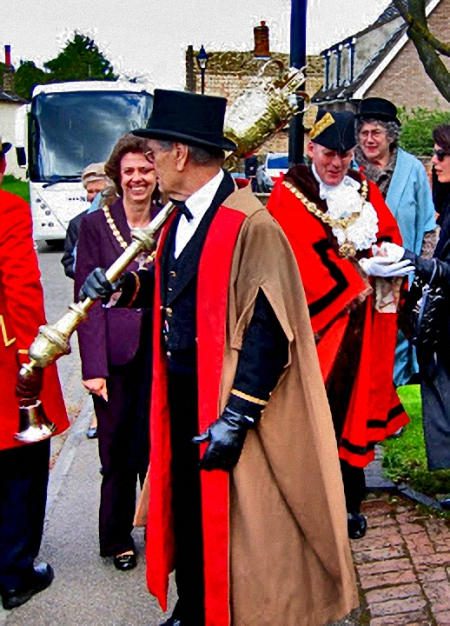 Mace-Bearer and Mayor of the City of Cambridge, England opening the Reach Fair, Reach Village East Cambridgshire