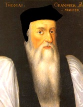 Thomas Cranmer, Archbishop of Canterbury and Fellow of Jesus College, Cambridge University. The portrait shows him after King Henry's death in 1547. It was then he grew the beard which — among continental divines — symbolized their rejection of Catholicism. Thereafter Cranmer's reshaping of the English church became much more extreme; nonetheless he could easily have exchanged wardrobes with the staunch Catholic John Fisher — had he still been alive. Cranmer would himself be executed, in 1556 under Queen Mary, for treason and heresy.