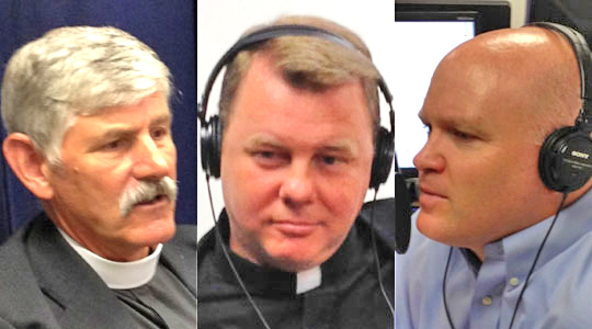 Father David Barnes (center); our founding Pastor, Father Jürgen Liias (at the time, still an Episcopalian, left); and Scott Landry (right), during a broadcast of THE GOOD CATHOLIC LIFE in 2012. You can listen to the interview here .